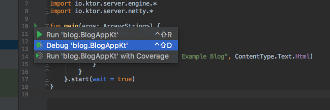 Ktor IntelliJ: Program Run