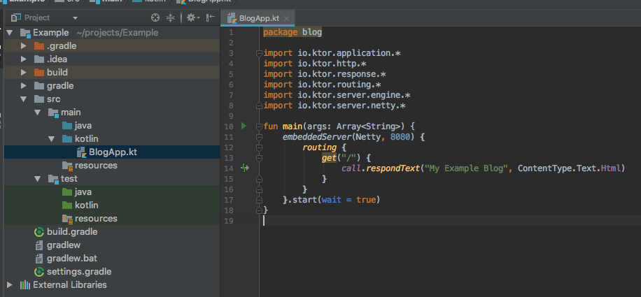 Ktor IntelliJ: Program
